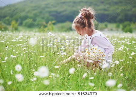 7 years old child having fun in flower field