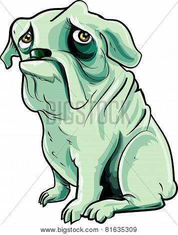 Cartoon grey bulldog with sad eyes