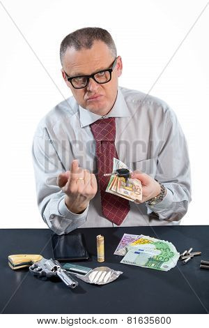 Gangster hijacks money, studio shoot, isolated on white