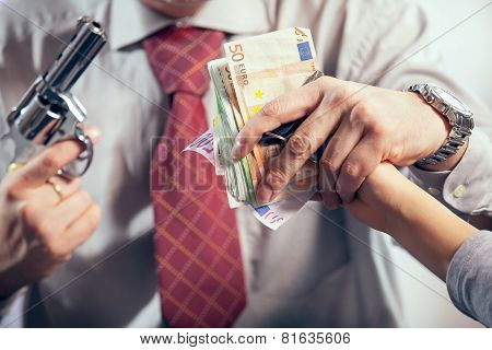 Gangster hijacks money, studio shoot
