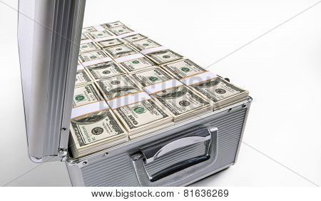 Case with dollars money