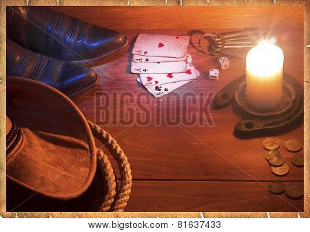 American West Background With Cowboy Objects