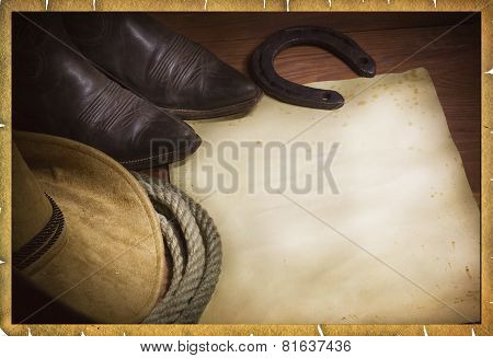 Rodeo Cowboy Background With Western Hat And Lasso