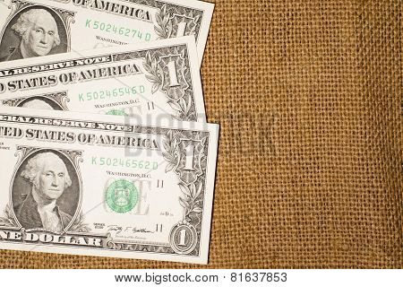 Banknotes  $1 Us  Dollars On The Very Old Sacking