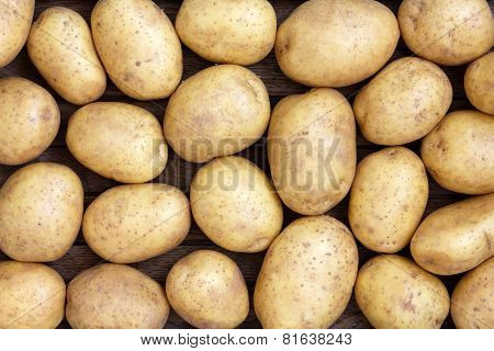 Many arranged potatoes from above