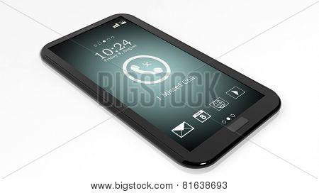 Smartphone with missed call notification on screen isolated on white