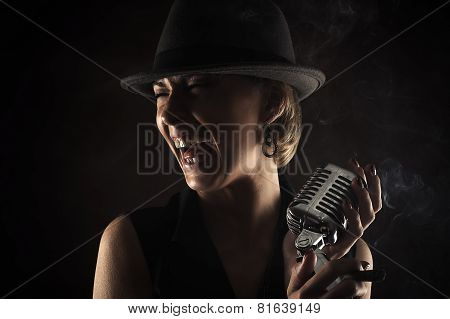 smiling jazz singer with retro microphone
