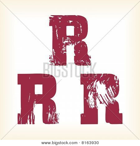 Grunge vector R letter