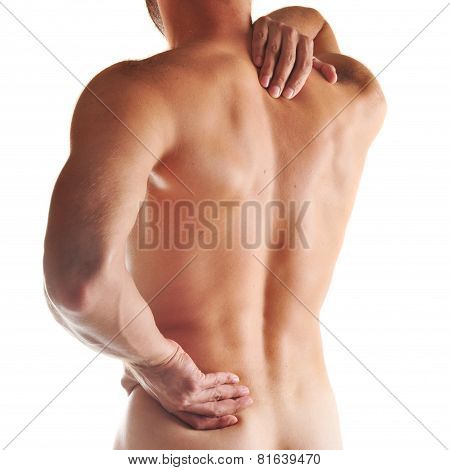 A boy felt back pain on white background
