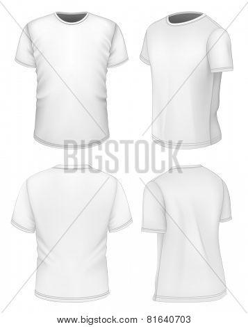Men's white short sleeve t-shirt design templates. Photo-realistic vector illustration.