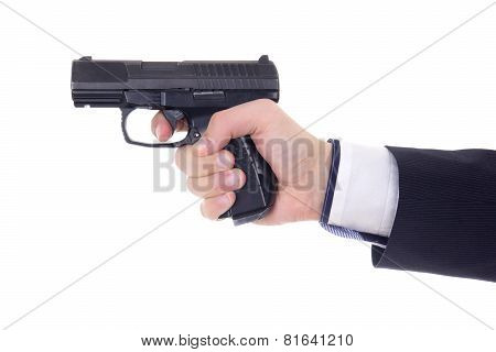 Male Hand With Gun Isolated On White