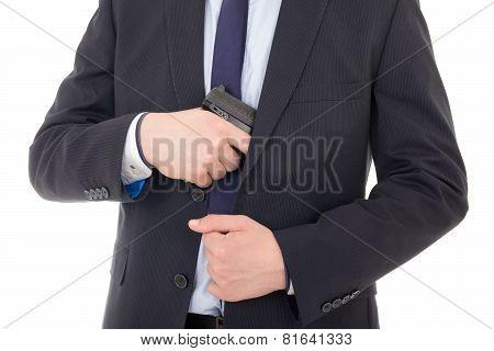 Man Hiding Gun Isolated On White