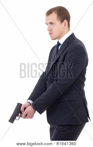 Policeman Or Bodyguard In Business Suit With Gun Isolated On White