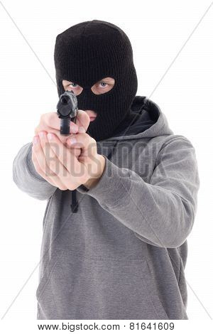 Burglar Or Terrorist In Black Mask Shooting With Gun Isolated On White