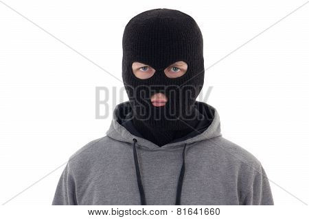 Criminal Man In Black Mask Isolated On White