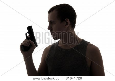 Silhouette Of Criminal Man Holding Gun Isolated On White
