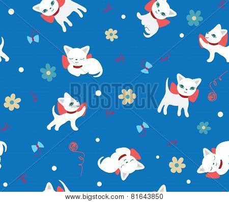 Set of cats silhouettes seamless background