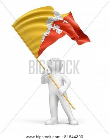 Man and Bhutanese flag (clipping path included)