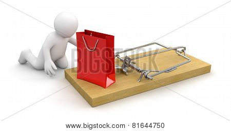 Man and Mousetrap with bag (clipping path included)
