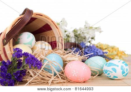 Easter Eggs Spilled From A Basket