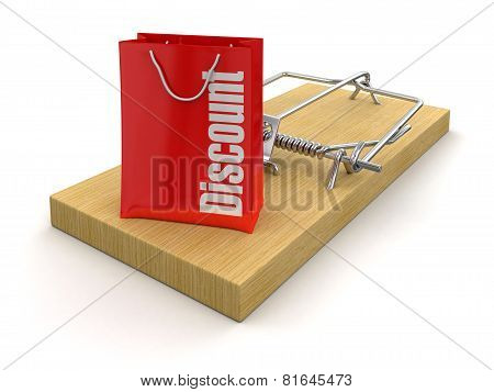 Mousetrap and bag Discount (clipping path included)
