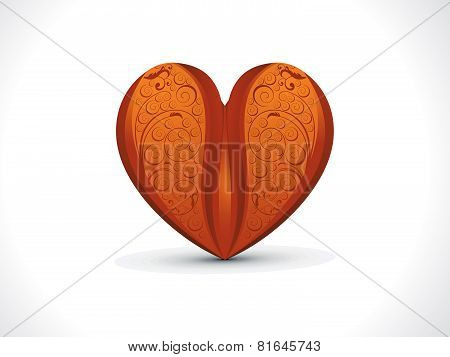 Abstract Artistic Detailed Wood Floral Heart Background