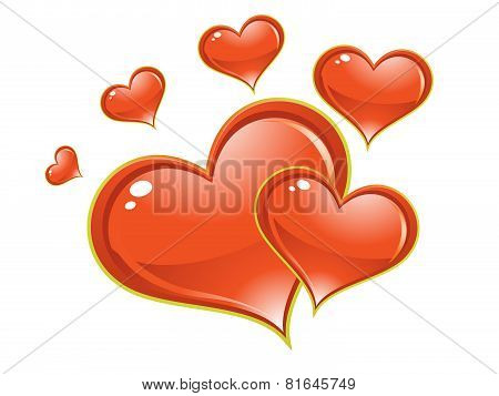 Abstract Artistic Shiny Red Heart Background