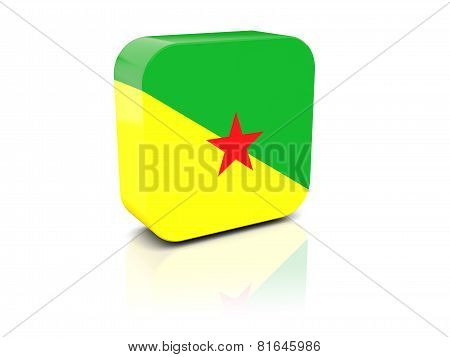 Square Icon With Flag Of French Guiana