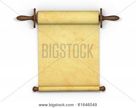 Antique scroll of parchment manuscript isolated on white background