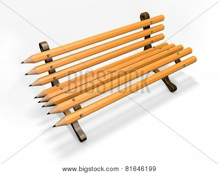 Pencil bench isolated on white