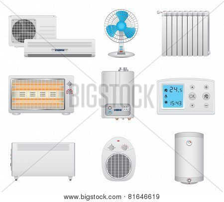 Heating and air conditioning icons