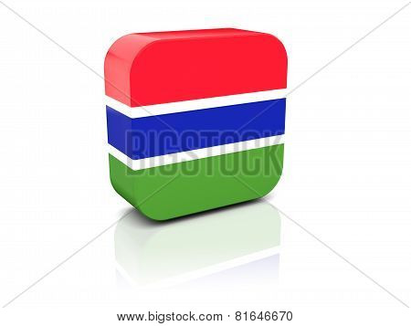 Square Icon With Flag Of Gambia