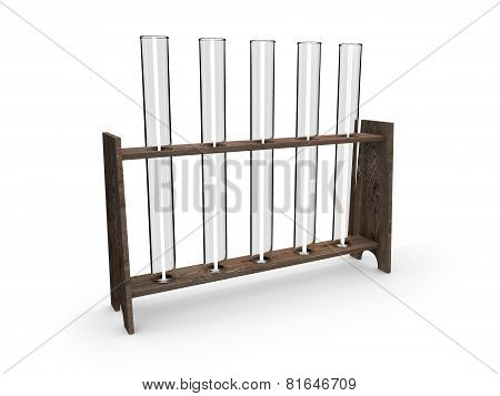 Test-tubes in wooden container isolated on white