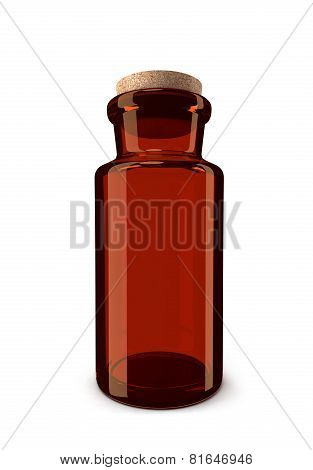 Brown glass pharmacy bottle isolated on white background