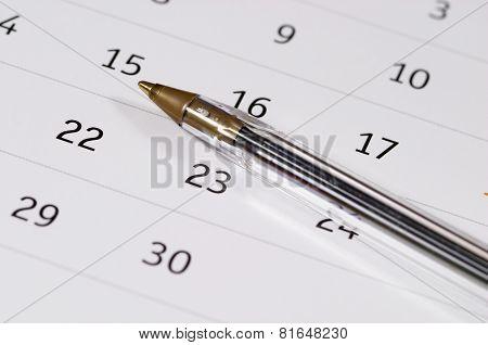 Plastic Pen Over Calendar