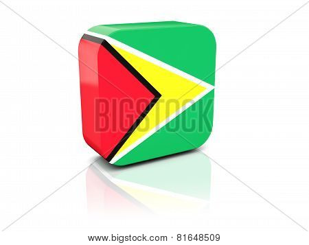 Square Icon With Flag Of Guyana