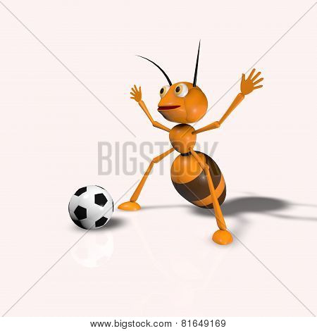 Ant With Soccer Ball