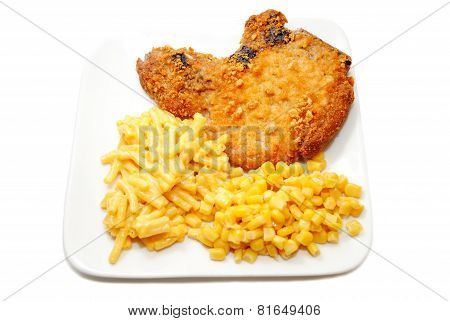 Crispy Porkchop With Mac & Cheese And Corn