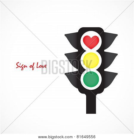 Traffic Light Icon With Red Heart Sign