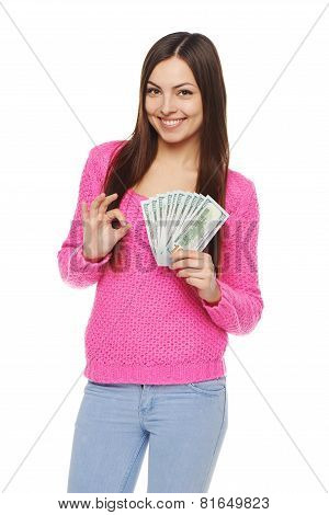 Woman showing us dollar money
