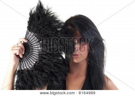 beautiful lady holding fantail
