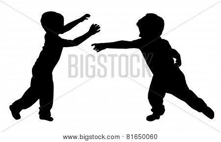 Silhouettes Of Two Little Boys