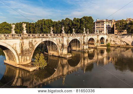 Ponte Sant'angelo Bridge In Sunset