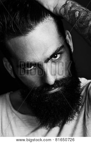 B/w Portrait Of A Bearded Man