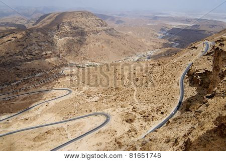Winding mountain road from Al Mukalla to Aden in Yemen.