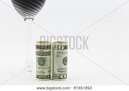American Currency Placed With Red Wine Glass