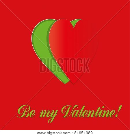 Valentine card with clipped heart
