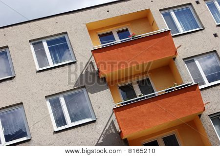 Detail Of Orange And Yellow Prefab House