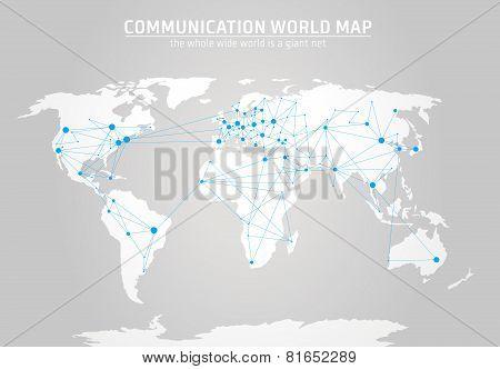 Communication World Map Vector