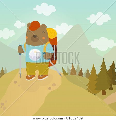Cartoon bear adventure tourist.